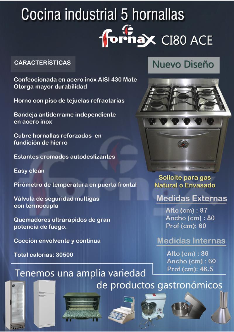 Cocina Industrial Fornax 5 Hornallas 80 Cm Rej Fundicion A